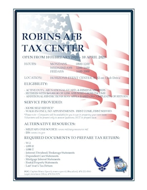 Graphic is a flyer with information on the Robins Tax Center. Same information is in the news story.