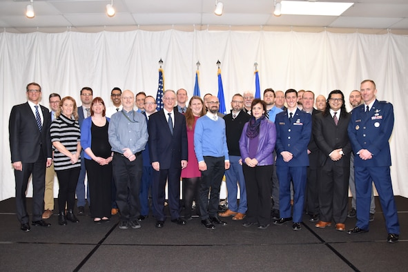 The Air Force Research Laboratory's Materials and Manufacturing Directorate held their 67th Annual Awards Luncheon at the Hope Hotel and Richard C. Holbrooke Conference Center. Pictured are the award recipients. (U.S. Air Force photo/Spencer Deer)