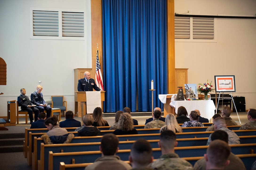 The service members of Mountain Home Air Force Base hold a memorial ceremony for Capt. Ryan Gipson, 391st Fighter Squadron wing munitions manager, Jan 16, 2020, at Mountain Home Air Force Base, Idaho. This ceremony was held to celebrate the life of Capt. Ryan Gipson and his honorable years of service in the United States Air Force. (U.S. Air Force photo by Senior Airman Tyrell Hall)