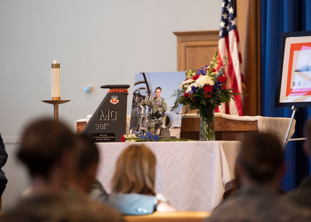A table is set as a memorial for Capt. Ryan Gipson, 391st Fighter Squadron wing munitions manager, during his memorial ceremony,  Jan. 16, 2020, at Mountain Home Air Force Base, Idaho. This ceremony was held to celebrate the life of Capt. Ryan Gipson and his honorable years of service in the United States Air Force. (U.S. Air Force photo by Senior Airman Tyrell Hall)