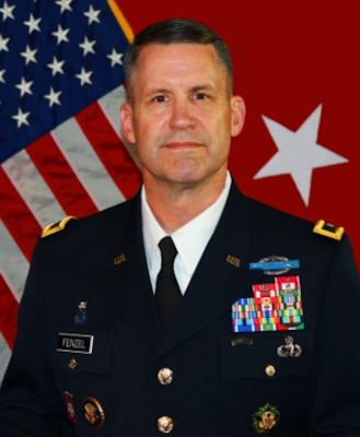 Army Maj. Gen. Michael R. Fenzel stands for an official portrait.
