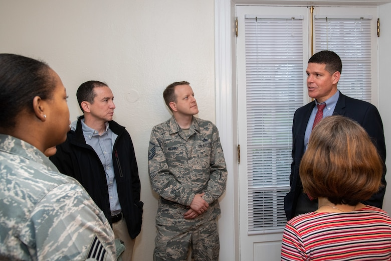 (Right) The Honorable John W. Henderson, Assistant Secretary of the Air Force for Installations, Environment and Energy, speaks with resident representatives from Maxwell Air Force Base and Gunter Annex, Alabama, during a privatized housing tour Jan. 14, 2020. Henderson toured several houses on Maxwell AFB to learn about current conditions in privatized housing. (U.S. Air Force photo by Billy Birchfield)