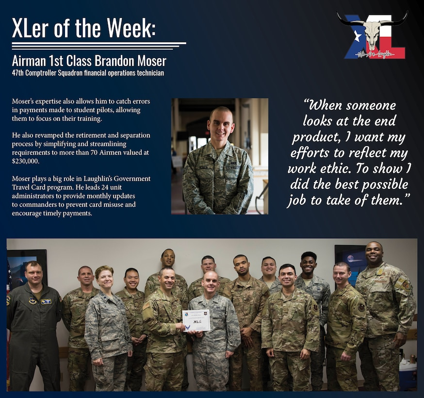 "Airman 1st Class Brandon Moser, a 47th Comptroller Squadron financial operations technician, was chosen by wing leadership to be the ""XLer of the Week"" of Jan. 13, 2019 at Laughlin Air Force Base, Texas. The ""XLer"" award, presented by Col. Lee Gentile, 47th Flying Training Wing commander, and Chief Master Sgt. Robert Zackery III, 47th FTW command chief master sergeant, is given to those who consistently make outstanding contributions to their unit and the Laughlin mission. (U.S. Air Force Graphic by Senior Airman Marco A. Gomez)"