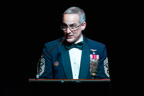 "Senior Enlisted Advisor to the Chairman of the Joint Chiefs of Staff Ramón ""CZ"" Colón-López speaks during the California Military Department Service Member of the Year Banquet, Jan. 18, 2020, in San Diego. The banquet recognized the best enlisted soldiers, airmen and sailors in the California Army National Guard, California Air National Guard and California State Guard."