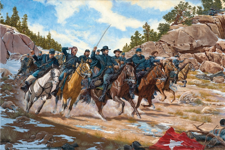 A painting of the Battle of Glorieta Pass: Action at Apache Canyon.