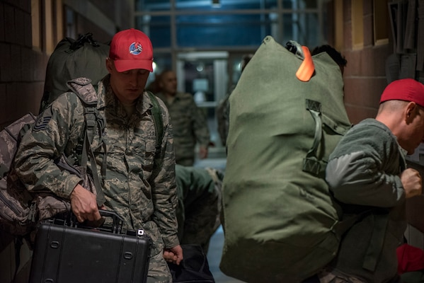 Airmen of the Ohio Air National Guard, 200th RED HORSE Squadron, Mansfield, Ohio, depart for Puerto Rico to help with earthquake relief efforts Jan. 17, 2020.