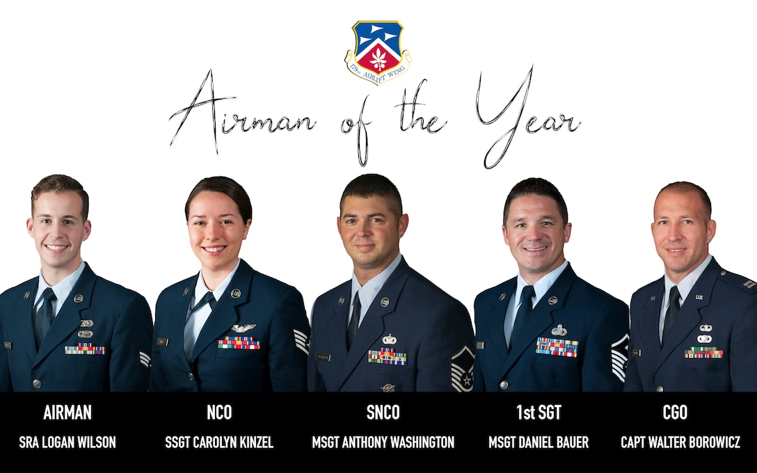 Photo collage of five 179th Airlift Wing members bio portraits