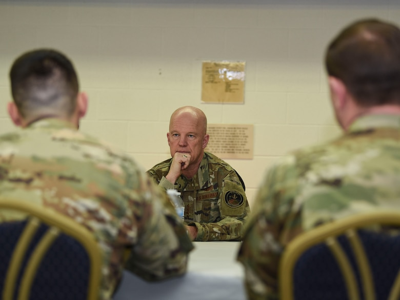 General John Raymond, U.S. Space Force chief of space operations, sits down for a conference discussing base functionality and Airmen readiness Jan. 10, 2020, on Cavalier Air Force Station, North Dakota. Cavalier commanders expressed their appreciation for Raymond's visit, and gave him insight on the current status of the station in functionality and readiness. (U.S. Air Force photo by Senior Airman Melody Howley)