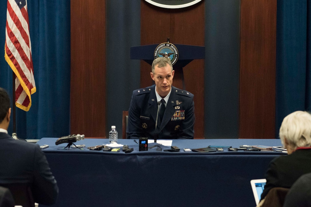 Air Force Maj. Gen. Alex Grynkewich, deputy commander, Combined Joint Task Force-Operation Inherent Resolve, provides an on-background Operation Inherent Resolve operational update at the Pentagon, Washington, D.C., Jan. 22, 2020. (DoD photo by Navy Petty Officer 2nd Class James K. Lee)