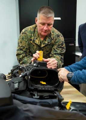 Maj. Gen Tracy W. King, Director of Expeditionary Warfare (OPNAV N95), visited the Diving and Life Support depot during a familiarization tour at Naval Surface Warfare Center Panama City Division January 22.