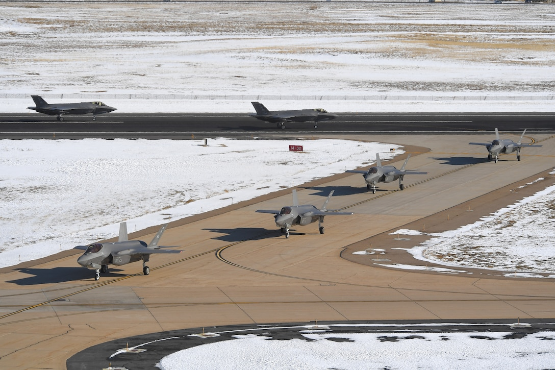 A photo of F-35As taxiing at Hill Air Force Base, Utah.