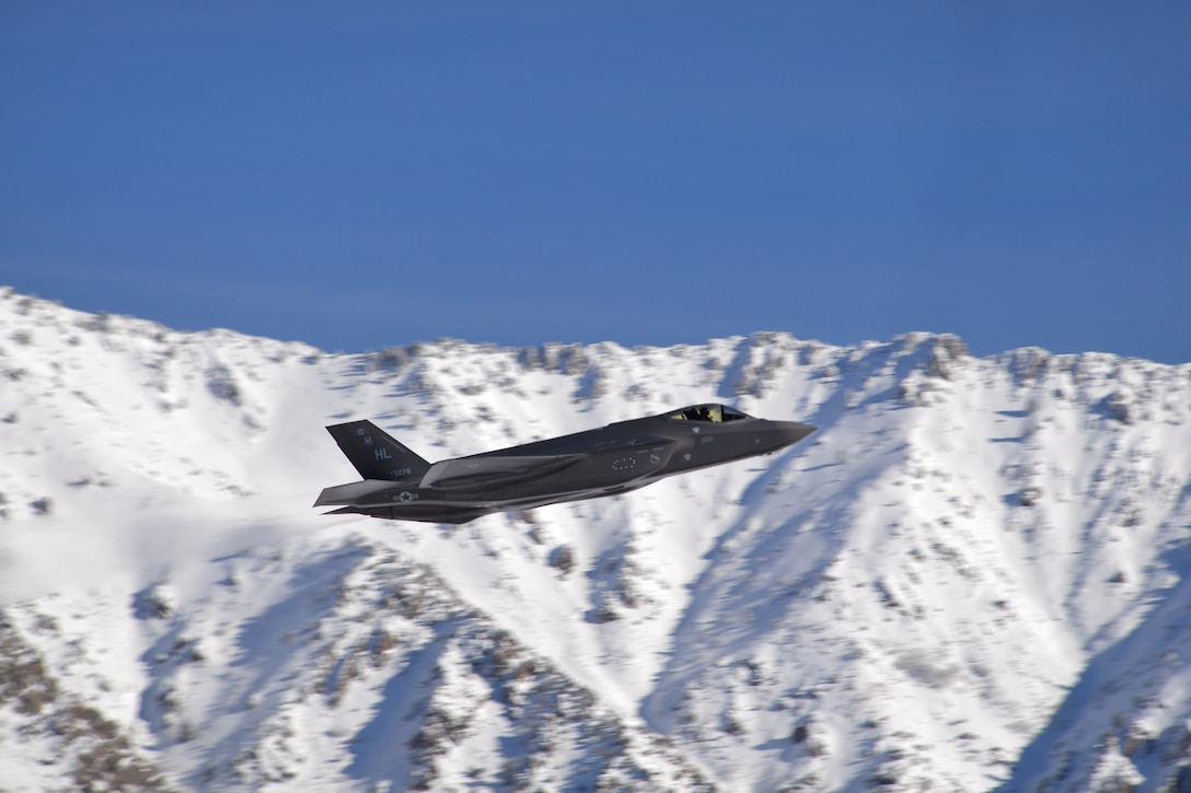 A photo of F-35As taking off at Hill Air Force Base, Utah.