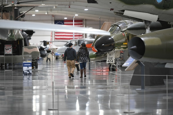 Visitors walk around the Hill Aerospace Museum Dec. 20, 2019 at Hill Air Force Base, Utah. The museum recently celebrated its 5 millionth visitor in November 2019. (U.S. Air Force photo by Cynthia Griggs)