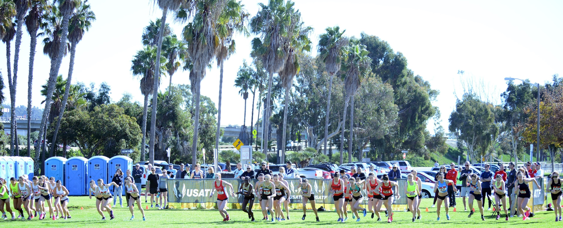 Runners begin the women's Armed Forces Cross Country Championship, run in conjunction with the USA Track and Field Cross Country Championships senior women 10K race at Mision Bay Park in San Diego, Calif., Jan. 18, 2019.