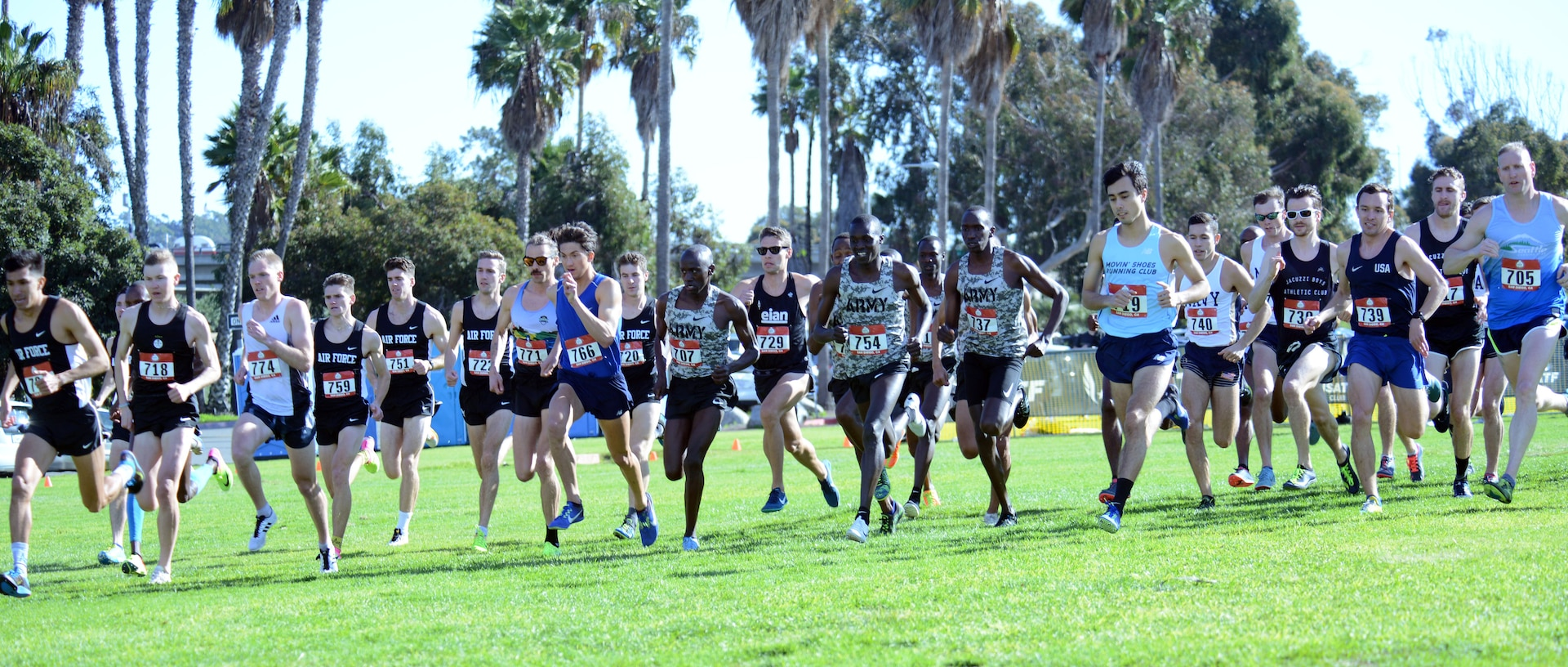 Runners begin the Armed Forces Cross Country Championship, run in conjunction with the USA Track and Field senior men 10K race at Mission Bay Park in San Diego, Jan. 18, 2019.