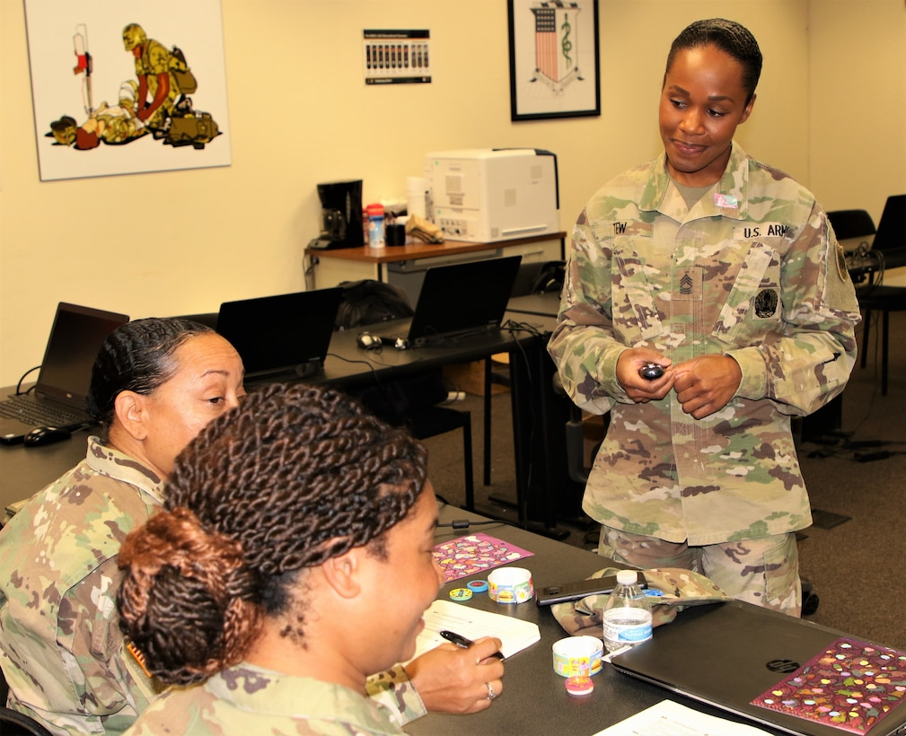 Master Sgt. Ericka Tew, with the 83rd Army Reserve Readiness Training Center, 100th Training Division-Leader Development, teaches a class at the 80th Training Command (TASS) Instructor of the Year Competition at Fort Knox, Kentucky, Oct. 24, 2019.  Tew was awarded the Noncommissioned Officer Army Reserve IOY for Fiscal Year 2020.