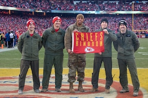 The Kansas City Chiefs recognize Airmen assigned to the 509th Bomb Wing and the 131st Bomb Wing at Whiteman Air Force Base, Missouri, during the third quarter of the AFC Championship game on Jan. 19, 2020, at Arrowhead Stadium, Kansas City, Missouri. A B-2 Spirit Stealth Bomber from Whiteman AFB flew over the stadium during the National Anthem performance. The Kansas City Chiefs and Whiteman AFB have been long standing partners and work on a variety of events throughout the year to strengthen bonds between the local community and the military. (U.S. Air Force photo by Senior Airman Thomas Barley)