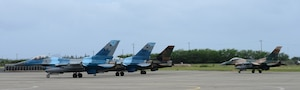 F-16 Fighting Falcons, assigned to the 18th Aggressor Squadron, stage prior to take-off during Sentry Aloha 20-1 on Joint Base Pearl Harbor-Hickam, Jan. 14, 2020. This iteration of the exercise involves approximately 1,000 personnel and 35 aircraft from 11 states. (U.S. Air Force photo by Staff Sgt. Sean Martin)
