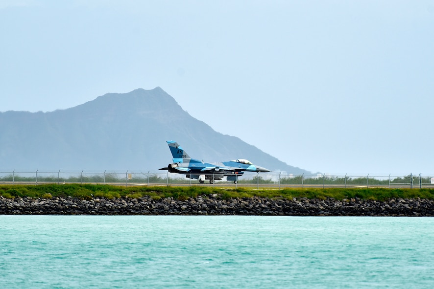 An F-16 Fighting Falcon assigned to the 18th Aggressor Squadron taxis down the runway during Sentry Aloha 20-1 at Joint Base Pearl Harbor-Hickam, Hawaii, Jan. 15, 2020. The 18th AGRS utilizes mobile training teams to train U.S. Air Force, Air National Guard and joint partner nations in different environments, to include arctic, desert and tropical locations. (U.S. Air Force photo by Senior Airman Beaux Hebert)