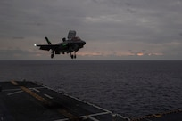 EAST CHINA SEA (Jan. 19, 2020) An F-35B Lightning II assigned to the 31st Marine Expeditionary Unit (MEU), Marine Medium Tiltrotor Squadron (VMM) 265 (Reinforced) lands on the flight deck of amphibious assault ship USS America (LHA 6). America, flagship of the America Expeditionary Strike Group, 31st MEU team, is operating in the U.S. 7th Fleet area of operations to enhance interoperability with allies and partners and serve as a ready response force to defend peace and stability in the Indo-Pacific region.