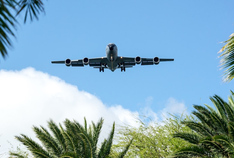 A KC-135R Stratotanker, assigned to the 128th Air Refueling Wing, Wisconsin Air National Guard, approaches Honolulu Airport for a landing Jan. 17, 2020, during exercise Sentry Aloha 20-1. Stratotankers provided in-air refueling to F-15 Eagles, F-16 Fighting Falcons and F-22 Raptors as they conducted a series of dissimilar-air-combat-training missions. Sentry Aloha provides high quality training to U.S. Air Force, Air National Guard and other Department of Defense services to increase lethality and readiness for present and future warfighters. (U.S. Air National Guard photo by Senior Airman John Linzmeier)
