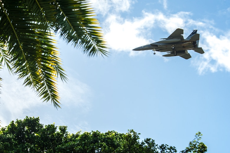 A California Air National Guard  F-15C Eagle, assigned to the 194th Fighter Squadron, approaches Honolulu Airport for landing Jan. 17, 2020, during exercise Sentry Aloha 20-1. Sentry Aloha provides cost-effective, tailored and realistic combat training for aviators across the U.S., providing them with the skills necessary to perform their homeland defense and overseas combat missions.  (U.S. Air National Guard photo by Senior Airman John Linzmeier)