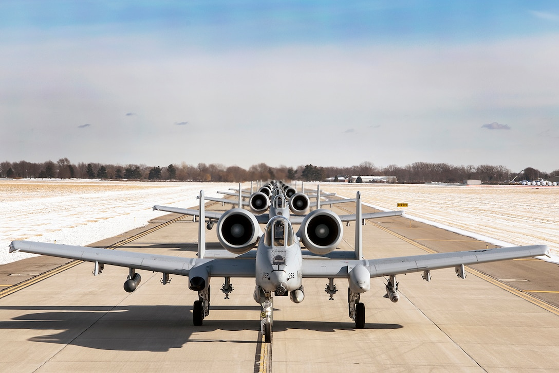 Ten A-10 Thunderbolt II fighter aircraft