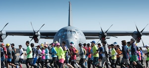 Athletes run in a half-marathon at Yokota Air Base