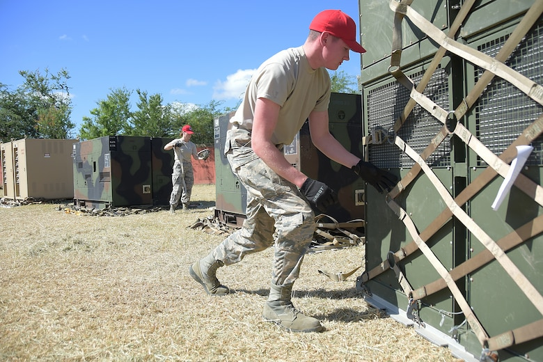 Airmen deployed to Puerto Rico set up campsites to accommodate relief and rescue efforts