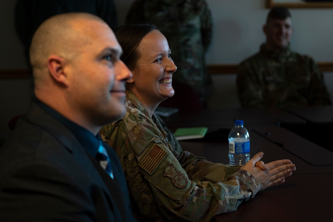 A photo of Airmen laughing