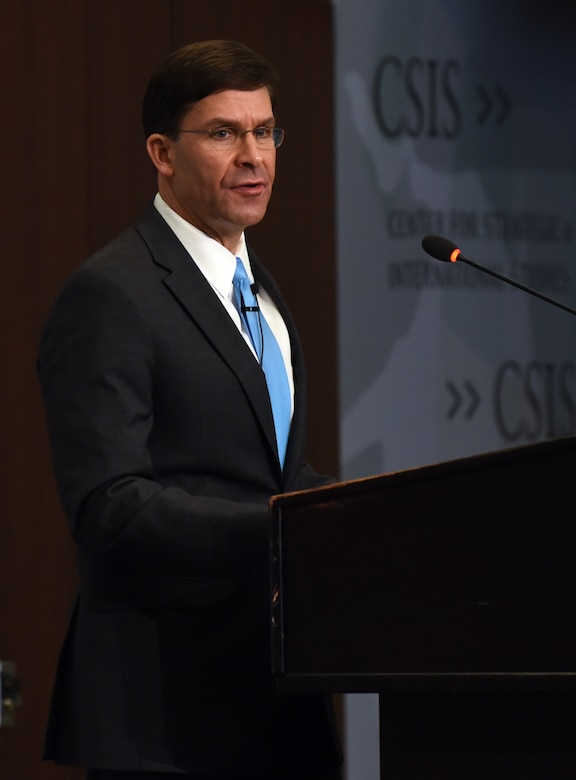 Defense Secretary Dr. Mark T. Esper speaks from behind a podium.