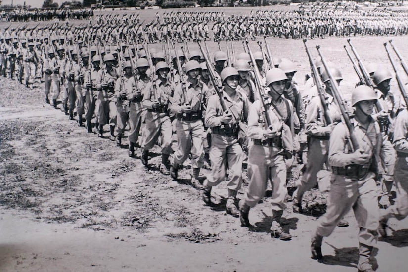 Troops march
