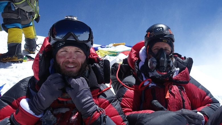 (Left to right) Tech. Sgt. Daniel Wehrly, 931st Maintenance Squadron Technology craftsman, poses with his friend, Thomas Becker, at the top of Mount Everest, May 23, 2019.  Wehrly, a Traditional Reservist, started the summit with two friends and a team of seven local Sherpas to assist them.  The two-month journey began as a personal challenge for Wehrly, an active climber who had already scaled a number of mountains in the U.S.