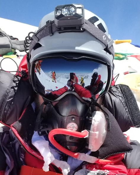"""Tech. Sgt. Daniel Wehrly, 931st Maintenance Squadron Technology craftsman, poses for a """"selfie"""" at the top of Mount Everest, May 23, 2019.  Wehrly, a Traditional Reservist, started the summit with two friends and a team of seven local Sherpas to assist them.  The two-month journey began as a personal challenge for Wehrly, an active climber who had already scaled a number of mountains in the U.S.  (Courtesy photo)"""