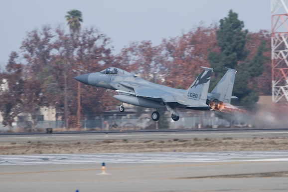An F-15C Ealgle from the 144th Fighter Wing launches from the Fresno Yosemite International Airport to participate in an Orange Flag exercise along with Edwards Air Force Base and China Lake Naval Air Station over the skies of the Majave desert Dec. 10, 2019.