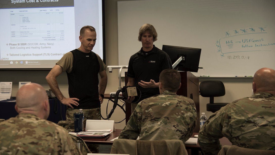 Dan Rini, the Rini Technologies president, presents a proposal for a personal cooling system to 6th Air Refueling Wing leadership, during MacDill Pitch Day Jan. 22, 2020, in Tampa, Fla.  MacDill Pitch Day provides an opportunity for MacDill Air Force Base to partner with small businesses to find solutions to challenges on base.