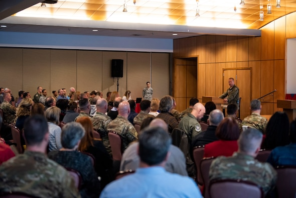 Col. Brian Laidlaw, 325th Fighter Wing commander, discusses the impact of Hurricane Michael during a rebuild town hall session at Tyndall Air Force Base, Florida, Jan. 23, 2020.