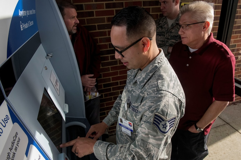 Staff Sgt. Pablo Santamaria, a pharmacy technician assigned to the 628th Medical Support Squadron, learns how to load prescriptions into the new ScriptCenter machine in the 628th Medical Group Pharmacy, January 21, 2019, at Joint Base Charleston. The ScriptCenter provides 24 hour access to prescriptions for patients.