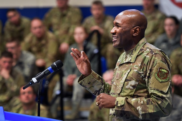 Chief Master Sgt. Boston Alexander, 50th Space Wing command chief, addresses a crowd during an all call on Schriever Air Force Base, Colorado, Jan. 23, 2020.