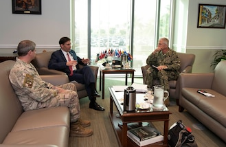 SOUTHCOM commander, Adm. Craig S. Faller and Air Force Lt. Gen. Plehn host an office call with Defense Secretary Dr. Mark T. Esper during Esper's visit to the SOUTHCOM Headquarters, in Doral, Fl., Jan. 23, 2020.