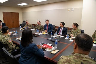 Defense Secretary Mark T. Esper hosts a working lunch with SOUTHCOM officers during his visit to the SOUTHCOM Headquarters, in Doral, Fl., Jan. 23, 2020.