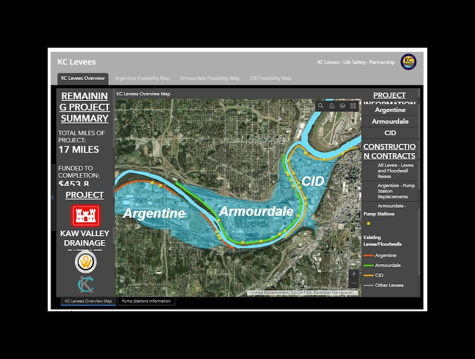 The KC Levees team has developed an interactive map that depicts the proposed improvements associated with the projects along the Argentine, Armourdale and CID Levee units.  The maps provides information pertaining to the levee and floodwall raises and pump station improvements.  Click the link for view the map.  Feel free to use the Contact Form if you have any questions about the project.