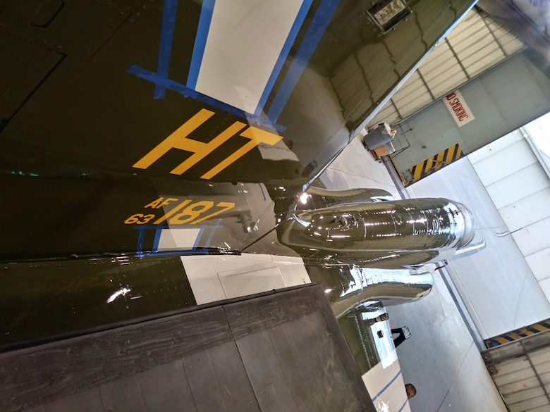 A T-38 Talon assigned to the 586th Flight Test Squadron sits in the paint barn being adorned with WW II namesake markings. The 586th Flight Test Squadron is repainting this T-38 in honor of their World War II namesake, the 586th Bombardment Squadron. (U.S. Air Force photo by Dwight Harp)