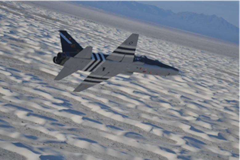 A T-38 Talon assigned to the 586th Flight Test Squadron flies over White Sands Missile Range showing its new paint scheme honoring its World War II namesake, the 586th Bombardment Squadron. The 586th Flight Test Squadron has repainted this T-38 in that livery. (Courtesy Photo)