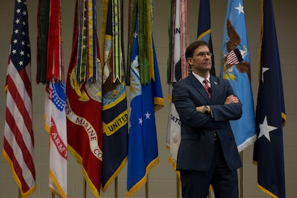 Defense Secretary Mark T. Esper speaks to SOUTHCOM service members and civilians during his visit to the SOUTHCOM Headquarters, in Doral, Fl., Jan. 23, 2020.