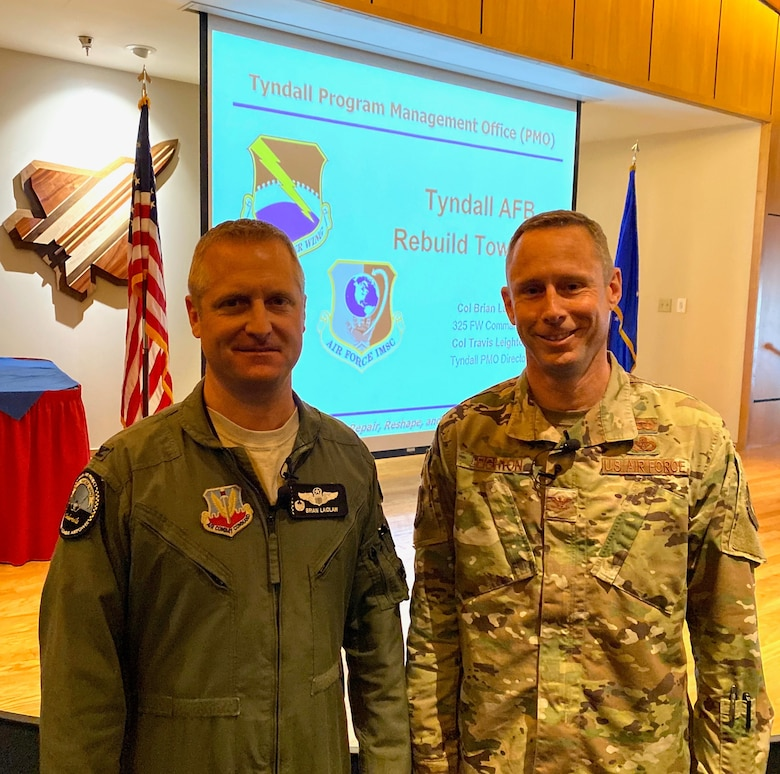 "In a joint effort to share their vision of the ""Installation of the Future,"" Col. Brian Laidlaw, 325th Fighter Wing commander, and Col. Travis Leighton, Tyndall Program Management Office director, spoke to Airmen, their families and base personnel during a town hall session at Tyndall Air Force Base, Fla. Jan. 23, 2020."