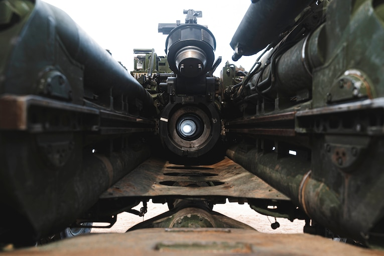 The inside of a military weapon.