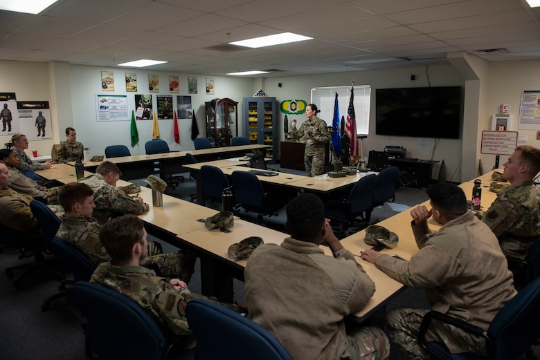 Airmen from the 366th Civil Engineer Squadron learn how to use Joint Chemical Agent Detectors during the Base Emergency Egineer Force training, Jan. 23, 2020, at Mountain Home Air Force Base, Idaho. JCAD systems are capable of detecting chemical vapor elements. (U.S. Air Force photo by Senior Airman Tyrell Hall)