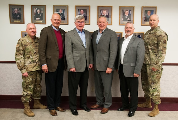 Maj. Gen. Fred Stoss, 20th Air Force commander; retired Maj. Gens. Roger Burg, Tim McMahon, Don Alston and retired Brig. Gen. Mike Carrey; Chief Master Sgt. Charles Orf, 20th Air Force command chief, pose for a photo during the 20th Air Force Commander's Roundtable, F. E. Warren Air Force Base, Wyo., Jan. 23, 2020. The event was the largest gathering of past 20 AF commanders in 20 AF history.