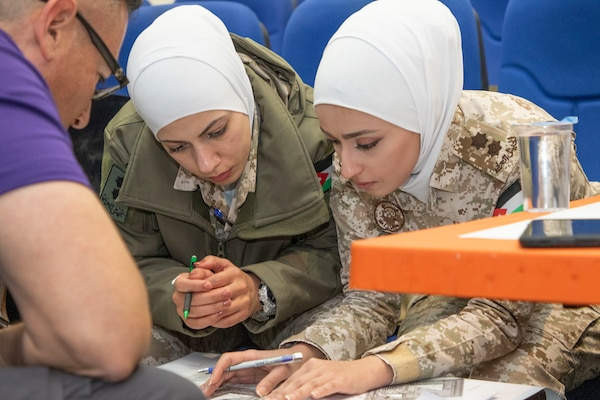 A U.S. Army Soldier (left), with Military Engagement Team-Jordan, 158th Maneuver Enhancement Brigade, Arizona Army National Guard, plots points on a map with Jordan Armed Forces-Arab Army (JAF) Quick Reaction Force Female Engagement Team members during a Map Reading Subject Matter Expert Exchange at a base outside of Amman, Jordan Jan. 13, 2020. The United States will protect our people and interests anywhere they are found around the world and is committed to the security of Jordan and to the partnering closely with the JAF to meet common security challenges. (U.S. Army photo by Sgt. 1st Class Shaiyla B. Hakeem)